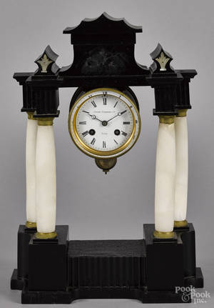French faux marble and alabaster portico clock late 19th c