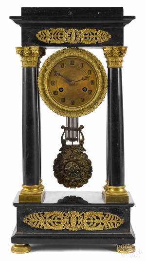 French ormolu and slate portico clock late 19th c