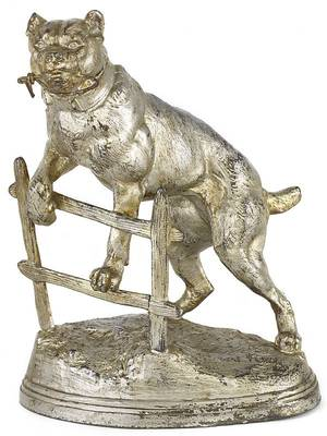 Spelter figural pocket watch holder of a dog and a fence