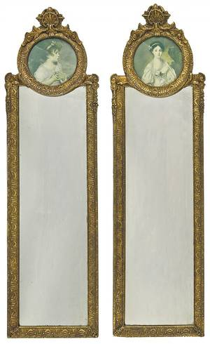 Pair of French gilt mirrors