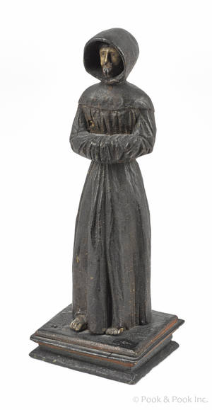 Continental carved and painted figure of a robed man early 19th c