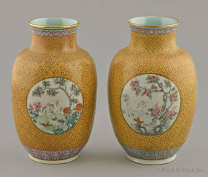 Pair of Chinese famille rose yellow ground porcelain vases
