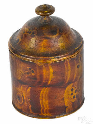 Painted treenware spice box 19th c
