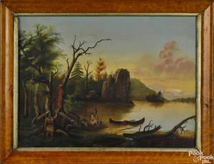 American oil on canvas primitive landscape 19th c