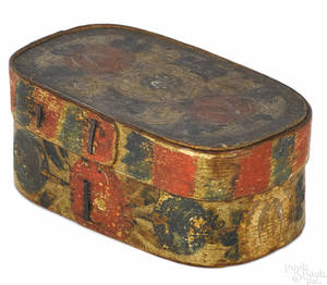 Painted pine bentwood box 19th c