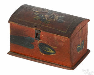 Painted pine trinket box 19th c