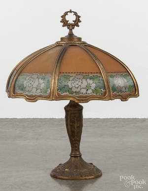 Reverse painted glass and spelter table lamp