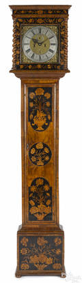 George I burl veneer and marquetry inlaid tall case clock ca 1700