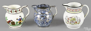 Three English pearlware pitchers early 19th c