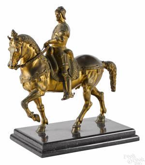 Continental gilt bronze figure of a Roman soldier on horseback 19th c