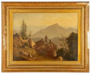 British Colonialist Oil Painting of India Mtns