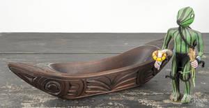 Northwest Coast carved cedar bowl