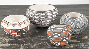 Four pieces of Acoma pottery