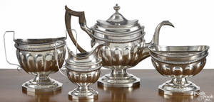 Philadelphia fourpiece coin silver tea service ca 1810