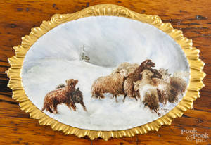 Limoges painted porcelain plaque of sheep and hounds