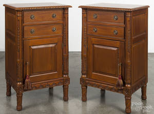 Pair of contemporary mahogany end tables