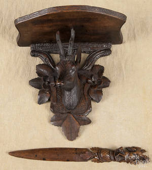 Black Forest carved stag shelf