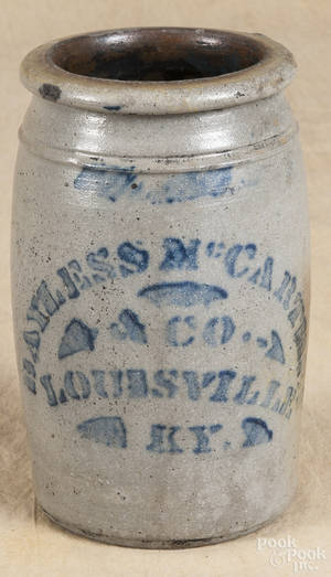Kentucky stenciled stoneware jar