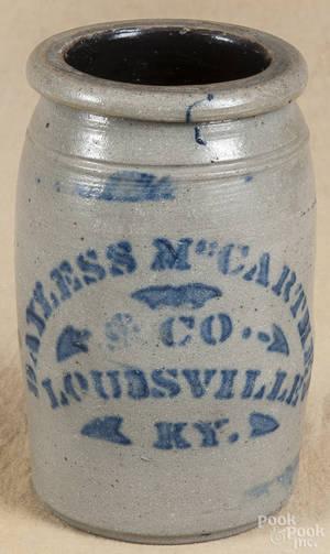 Kentucky stenciled stoneware jar