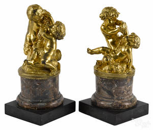 Pair of French gilt bronze putti groups late 19th c