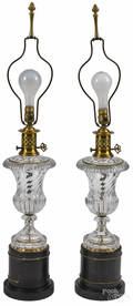 Pair of French crystal table lamps