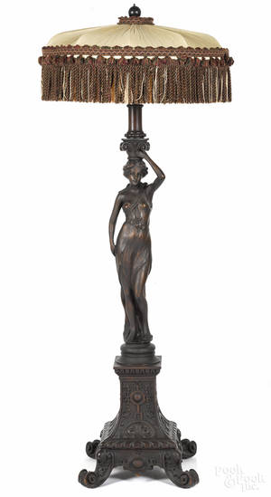 Continental carved mahogany figural floor lamp late 19th c