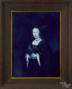 Delft blue and white porcelain portrait plaque late 19th c