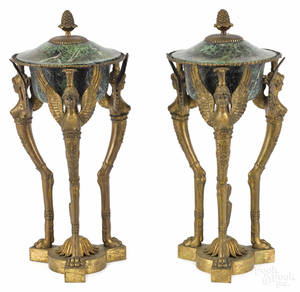 Pair of bronze and tole peinte cassolettes
