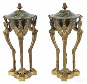 Pair of bronze and tole peinte cassolettes