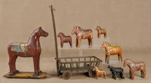 Continental carved and painted horse pull toy