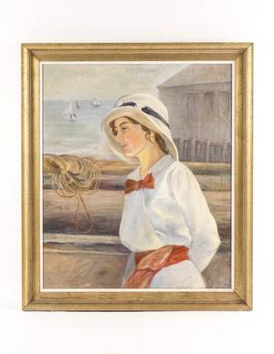Marian Butts Woman at Shore Oil on Canvas