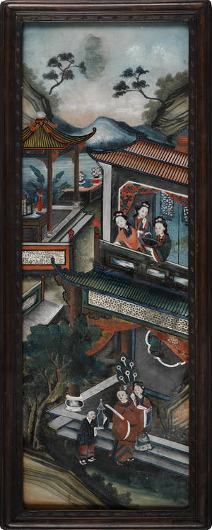 Chinese reverse painting on glass 19th c