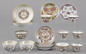 Nine Chinese export porcelain cups and saucers 18th19th c