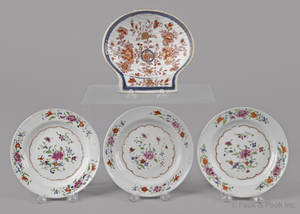 Three Chinese export porcelain famille rose plates late 18th c