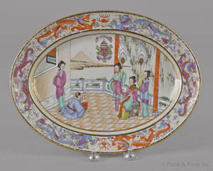 Chinese export porcelain famille rose armorial platter 19th c