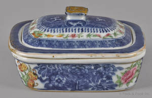 Chinese export porcelain blue Fitzhugh clobbered soap dish early 19th c