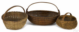 Three splint gathering baskets 19th c