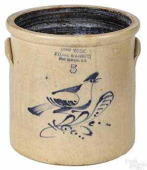 Fort Edward New York fivegallon stoneware crock 19th c