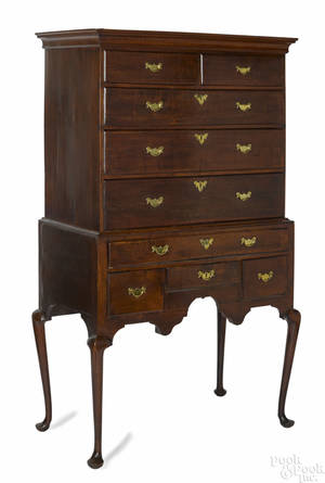 New England Queen Anne tiger maple high chest ca 1760