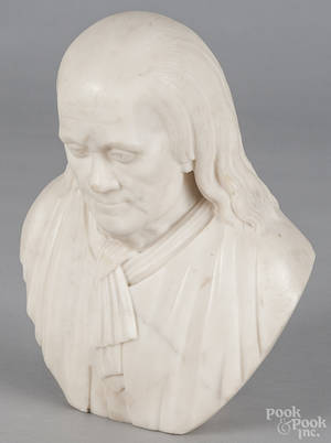 Carved marble bust of Benjamin Franklin early 19th c