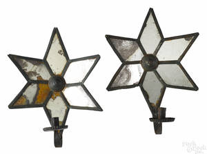 Pair of painted tin mirrored star candle sconces 19th c