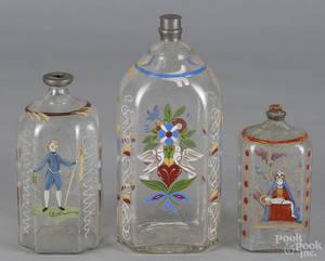 Three Stiegeltype enameled glass bottles 19th c