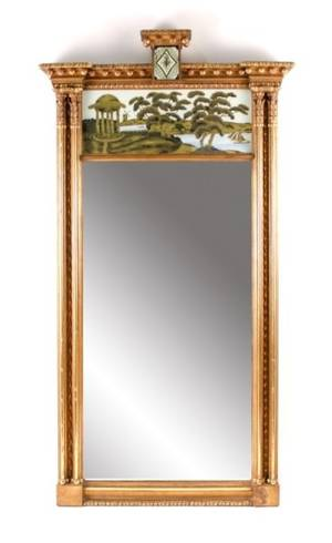 Federal Carved  Gilt Eglomise Mirror