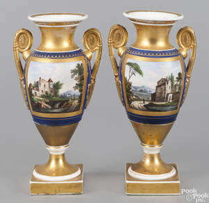 Pair of Paris porcelain vases ca 1830