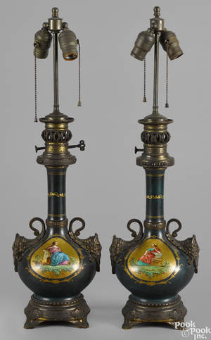 Pair of Continental ormolu and painted metal table lamps 19th c