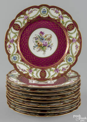 Set of ten Sevres porcelain cabinet plates late 19th c