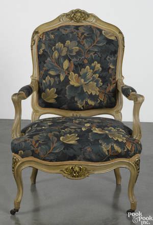French painted and ormolu mounted fauteuil late 19th c