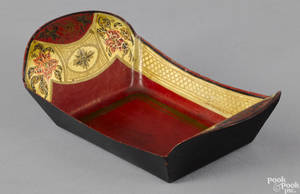 Miniature red tole bread tray 19th c