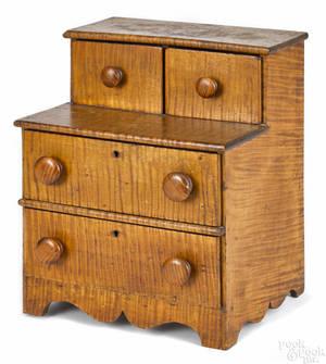 Miniature Pennsylvania tiger maple dresser late 19th c