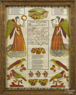 Pennsylvania printed and handcolored fraktur by Saeger and Leisenring